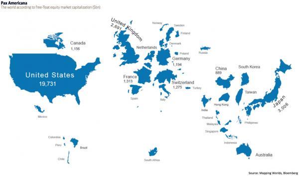 El mundo según su capitalización bursátil