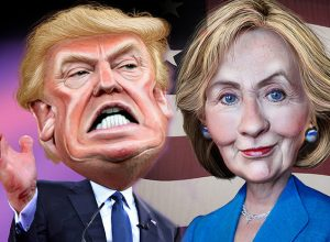 Trump vs Clinton Caricature